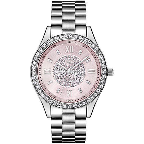 JBW Women's J6303F Mondrian Analog Display Japanese Quartz Stainless Steel Watch with Pave Diamond Pink Face