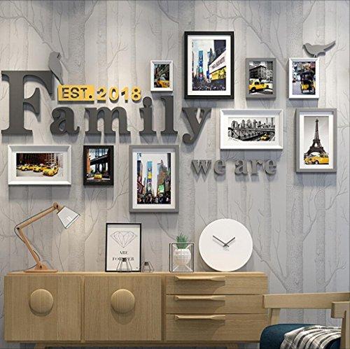 SJB Bilderrahmen Collage DNSJB Fotorahmen-Familien-Fotorahmenwand der Fotorahmenfamilien-Wand kreative Restauranthintergrundwanddekoration (Farbe : A)