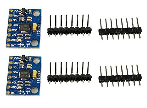 com-four® 2X GY-521 MPU-6050 Giroscopio a 3 Assi e modulo accelerometro a 3 Assi per Arduino (02 Pezzi)