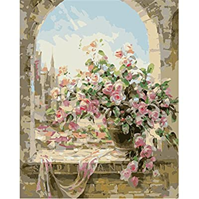 AIHOMETM Diy Oil Painting by Number Kits Frameless for Adults Kids and Beginner Level( Window Flowers Pattern ) produced by AIHOME - quick delivery from UK.