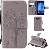 Ooboom® Samsung Galaxy J5(2015 Version) Case Cat Tree Pattern PU Leather Flip Cover Wallet Stand with Card/Cash Slots Packet Wrist Strap Magnetic Clasp for Samsung Galaxy J5(2015 Version) - Gray