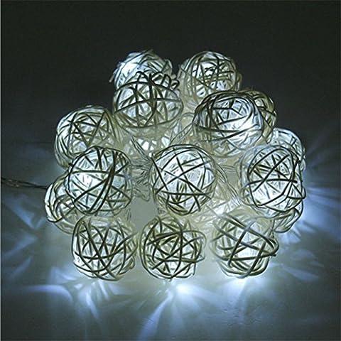 Happyit 3M 20pcs Led Rattankugel Lichterkette String Lights für Neujahr Weihnachts Dekoration Hochzeit Party Home Dekoration Lichter (Weiß)