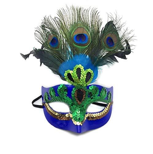 Lumiere Kostüm Kind - Fwsjjxcc Halloween Maskerade Maskerade Dekoration Maske Männer und Frauen Maske Prom Half Face Birthday Party Pfauenmaske Kinder Leistung Maske (Blue)