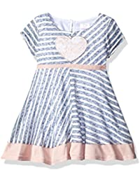 Youngland Baby Girls' Paneled Knit Dress and Heart Applique