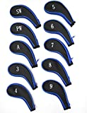 Deluxe Set Of 10 Padded Zip Up Iron & Wedge Head Cover Protectors Fits All Golf Clubs