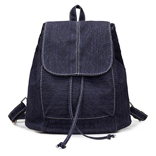 Weimay lienzo mochilas estudiante linda bolsa de mensajero ocasional multifunción niñas mochilas escolares bolsa de estilo deportivo (azul marino)