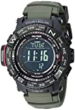 Casio Men's 'PRO TREK' Tough Solar Powered and Stainless Steel Watch, Color:Green...