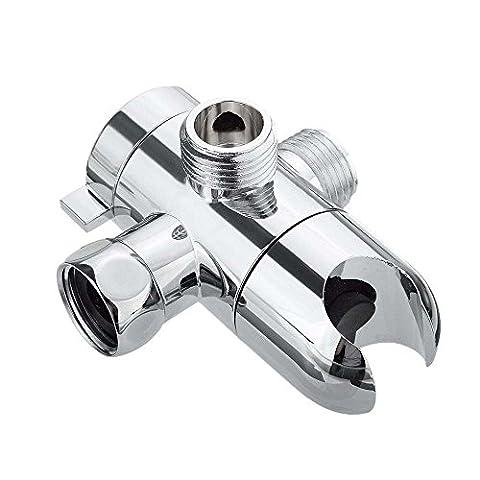 Shower Arm Diverter with Holder- Universal Handheld 3 Way Shower Diverter Valve Mount 1/2-Inch Shower Arm Splitter for Handshower Showering Components -