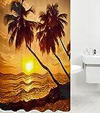 Duschvorhang Summer 180 x 200 cm, hochwertige Qualität, 100% Polyester, wasserdicht, Anti-Schimmel-Effekt, inkl. 12 Duschvorhangringe