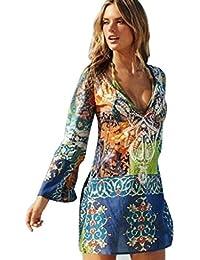 Kukul Boho Vestido de Playa de Gasa Para Mujer, Vestido de Manga Larga Floral Camisa