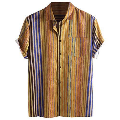 Tyoby Herren Sommer Hemden Reversstreifen Kurzärmliges Knopf Shirt,Freizeit Strand Hawaii-Stil Spitze(KhakiA,M)