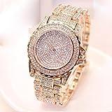 Dragon868 Moda Diamanti di Lusso Analogico Quartz Vogue Orologi (Oro Rosa)