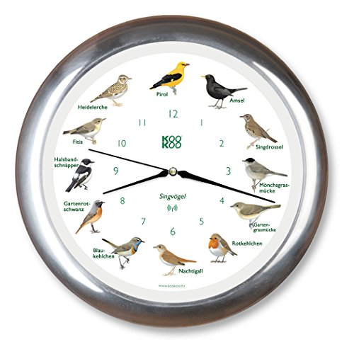 9ab1af34a KOOKOO Singvögel RC aluminio, reloj de pared con 12 pájaros cantores,  nativos, grabaciones