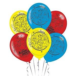 Amscan International-990149928cm DC Super Hero globos de látex para niñas de 4caras)