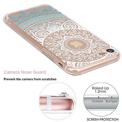 Schutzhülle iPhone Schutzhülle étui-case transparent Liquid Crystal Blume aus TPU Silikon klar, Schutz Ultra Slim Premium, Schutzhülle Prime für Iphone fleur-bleu