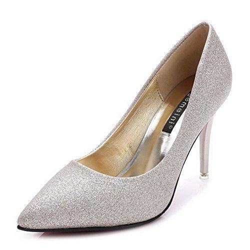 AalarDom Femme Stylet Matière Souple Couleur Unie Pointu Chaussures Légeres Doré-Tissu à Paillette