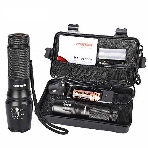 Flashlight, HappyTop 4000lm XM-L T6 LED 5-Mode Zoomable Hunting Tactical  Torch Kit Batteries Included