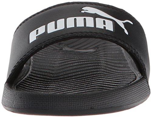 PUMA Unisex-Kids Popcat Slide Sandal  Black White  6 M US Big Kid