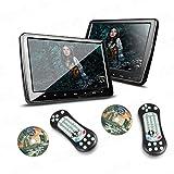 """XTRONS® 2X 10,1 """" Auto DVD CD Player Kopfstütze Headrest HD Monitor Bildschirm HDMI Anschluss Ultra dünn abnehmbar schwarz"""