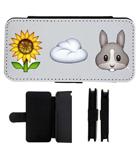 """Leder Flip Case Apple IPhone 4/ 4S """"Sonnenblume und Wolke ist gleich fröhlicher Hasenkopf"""", der wohl schönste Smartphone Schutz aller Zeiten."""