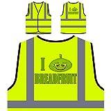 Ich liebe Brot frisches Obst Gemüse Personalisierte High Visibility Gelbe Sicherheitsjacke Weste a335v
