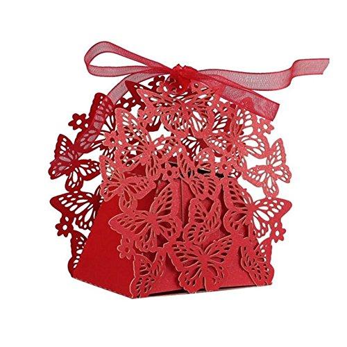 LAVINAYA-50pcs Wedding favors/Romantic-set di decorazioni fai da te a forma di farfalla Candy-Scatola per biscotti, idea regalo per matrimoni, con nastro rosa Rosso