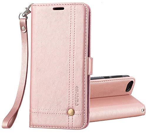 Ferilinso Funda Xiaomi Redmi 6A, Carcasa Cuero Retro Elegante con ID Tarjeta de Crédito Tragamonedas Soporte de Flip Cover Estuche de Cierre magnético para Xiaomi Redmi 6A (Oro Rosa)