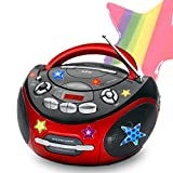 etc-shop AEG Tragbarer Kinder CD Player Stereo Musik Anlage Radio Aux-IN MP3 mit Sternchen Sticker