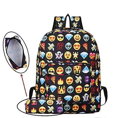 Emoji Backpack, Caveen 2Pcs Children's Bag Pencil Case Cute 3D Emoji Emotion Rucksack Unisex Cartoon Bag for Boys Girls Casual Daypack Travel Hand Cabin Luggage Emoji Hologram Bag School Outdoors … - childrens-backpacks