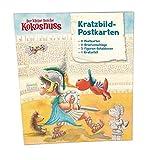 Der kleine Drache Kokosnuss - Kratzbild-Postkarten Set: 8er Set Postkarten mit Schablone