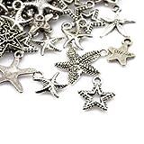 Paket 30 Gramm Antik Silber Tibetanische ZufälligeMischung Charms (Stern) - (HA07415) - Charming Beads