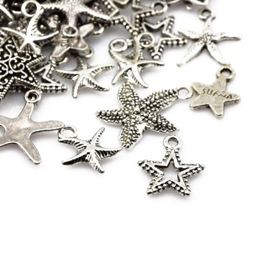 Charming beads pacco 30 grammi argento antico tibetano miscelacasuale ciondoli (stella) - (ha07415)