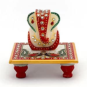Little India Meenakari Work Lord Ganesh Marble Pooja Chowki (White)
