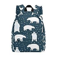 TIZORAX Polar Bears Lightweight Travel School Backpack for Women Girls Teens Kids