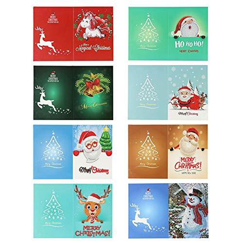 Broadroot Weihnachten Karten DIY 5D Diamant Malerei Strass kreatives Neujahr Weihnachten Geschenke (8Stk, A)