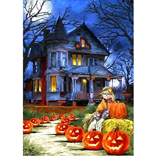 t Malerei nach Anzahl Kits Runde Bohrer Strass Stickerei Kreuzstich Bild Kunst Handwerk Home Wall Decor K¨¹rbis Haus Halloween 12x16In ()