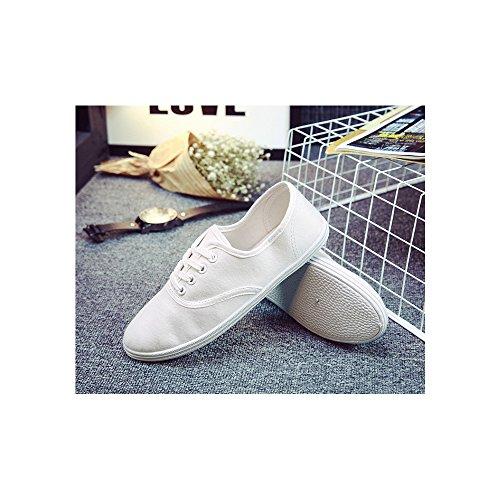 151013fcec584 OCHENTA Femme Tennis basse Baskets Mode En Toile Chaussure De Sport Léger  Sneakers Basse Blanc ...