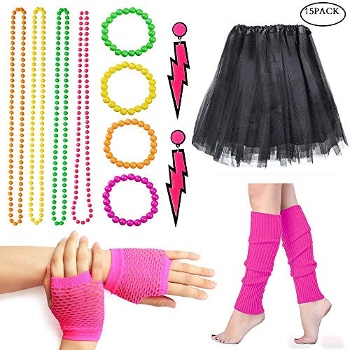 Women's 80s Fancy Outfit Costume Accessories Set - many colours