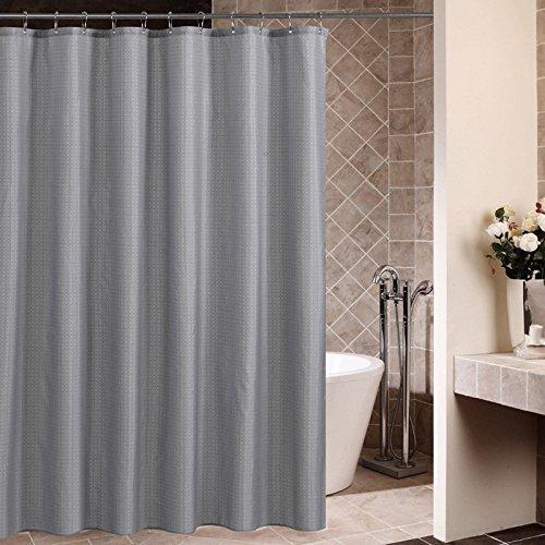 Lifewit Duschvorhang 180x180cm Anti-Schimmel Wasserdicht Karomuster Vorhang mit 12 Duschvorhangringen Grau