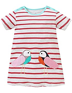 Kaily Mädchen Baumwolle Sommer kurze Ärmel T-shirt Kleid