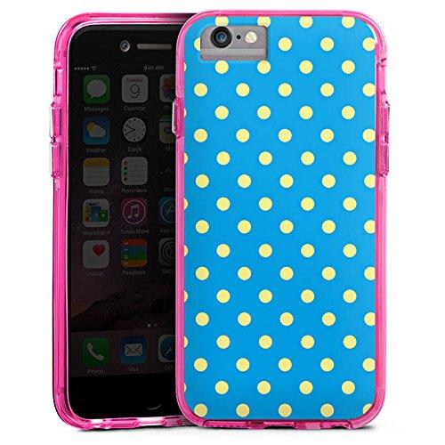 Apple iPhone X Bumper Hülle Bumper Case Glitzer Hülle Dots Blue Blau Bumper Case transparent pink