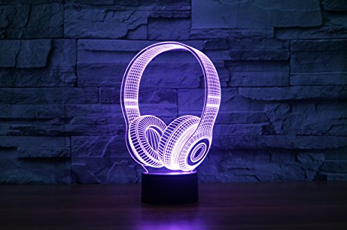 Kopfhörer Hologramm 3d Lampe Nachttischlampe, Nachtlicht fürs Kinderzimmer, LED Lampe fürs Wohnzimmer - 6