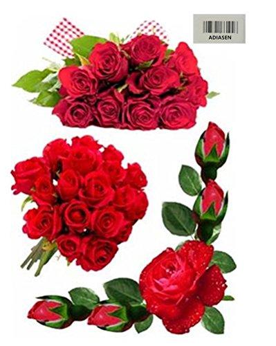 ADIASEN 3D Blume Rose Feder Blatt Auto Aufkleber Auto Aufkleber Zubehör Für Auto Motorrad Bike (mehrfarbig-3) (Für Feder Aufkleber Auto)