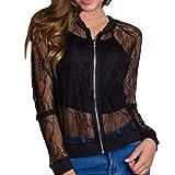 Frauen Outwear VENMO Frauen Jacke Casual Hollow Out Blumen-Reißverschluss Vintage Blazer Mantel Outwear Bluse (L, Black)