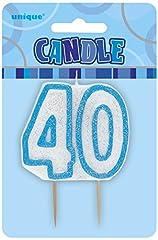 Idea Regalo - Unique Party 34414 Candela di 40° Compleanno, Blu Brillante