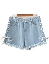 88ed5c8ef3 Oudan Pantalones Cortos para Mujer Dechiré Talla Grande Jeans Cintura Alta  con Cuerda Chic