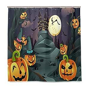 Wamika Badezimmer Dusche Vorhang Halloween Hintergrund Kürbisse Spuk-Guss Design Haltbarer Stoff Bad Vorhänge Schimmelresistent Wasserdicht Badezimmer 12Haken 183,0cm x183,0cm