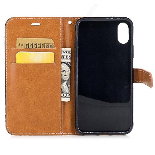 Custodia per iPhone X Cover, ZCRO Custodia Portafoglio Denim Jeans Design Libro Pelle Copertura Flip Case Completa Caso Magnetica Antiurto Classico Protettiva Cover con Cordino e Stilo Penna per iPhon Blu