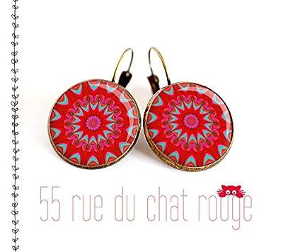 Boucles d'oreilles cabochon 12/14/16/18/20 mm, Mantra, Mandala, Rouge turquoise, Zen, bijou ethnique