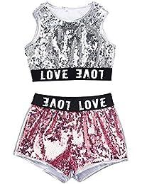 9b5314e69420 uirend Danza Bambine e Ragazze Abiti - Bambini Adulto Jazz Hip Hop Moderno  Costumi Prestazione Paillettes